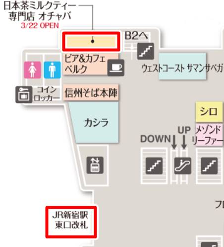 オチャバ OCHABA 新宿店の地図